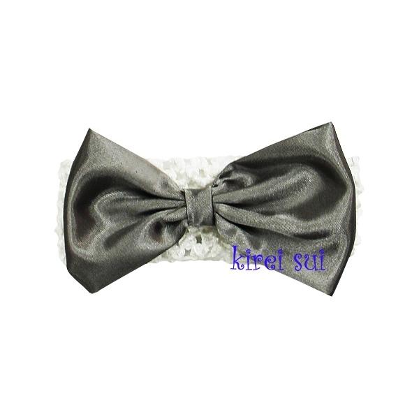 Haarband Wit strik zilvergrijs