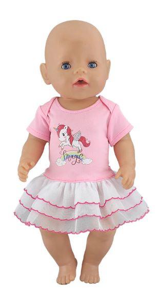 Unicorn magic baby poppen jurkje