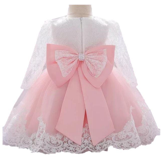 Luxe jurk met kant BLOSJESROZE