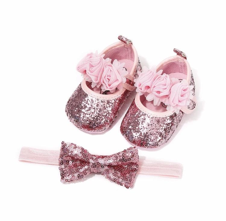 Babyschoen ROZE glitters + haarband