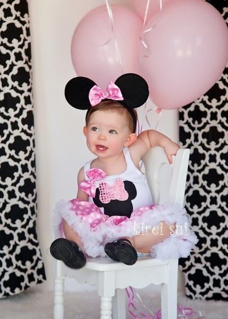 Party Dress Minnie Mouse roze + Minnie Mouse diadeem