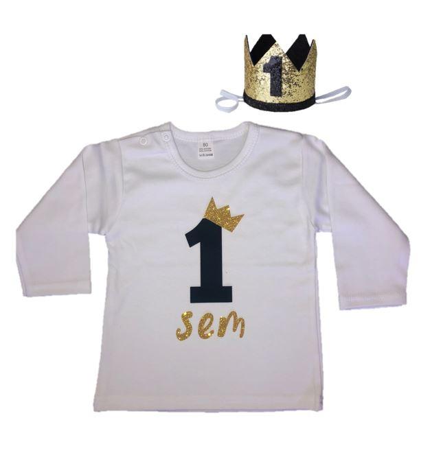Shirt/romper jongen getal 1 zwart-goud met naam + kroon