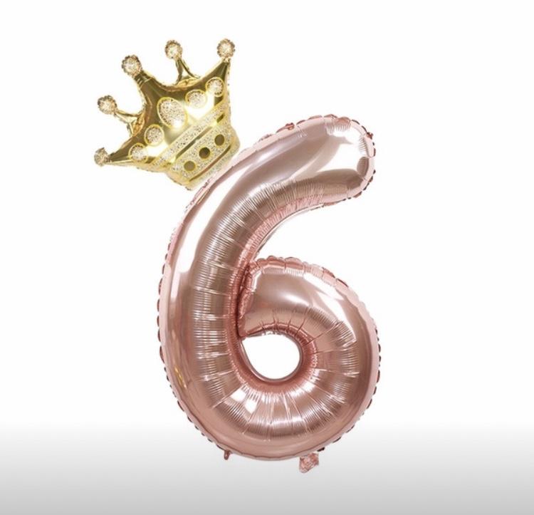 Folie Ballon Kroon + cijfer 6 - goud met rosé goud