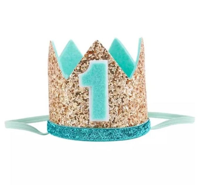 Verjaardag set 1 t/m 4 jaar mint/goud + haarband + NAAM  (3-delig)
