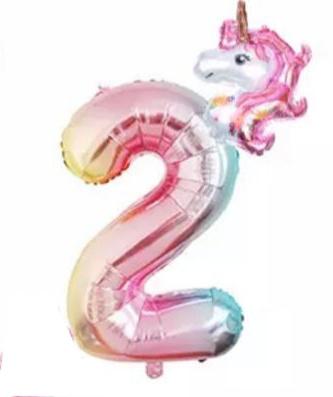 Folieballon regenboog unicorn 2