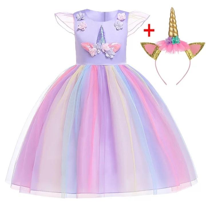 Unicorn jurk paars + diadeem
