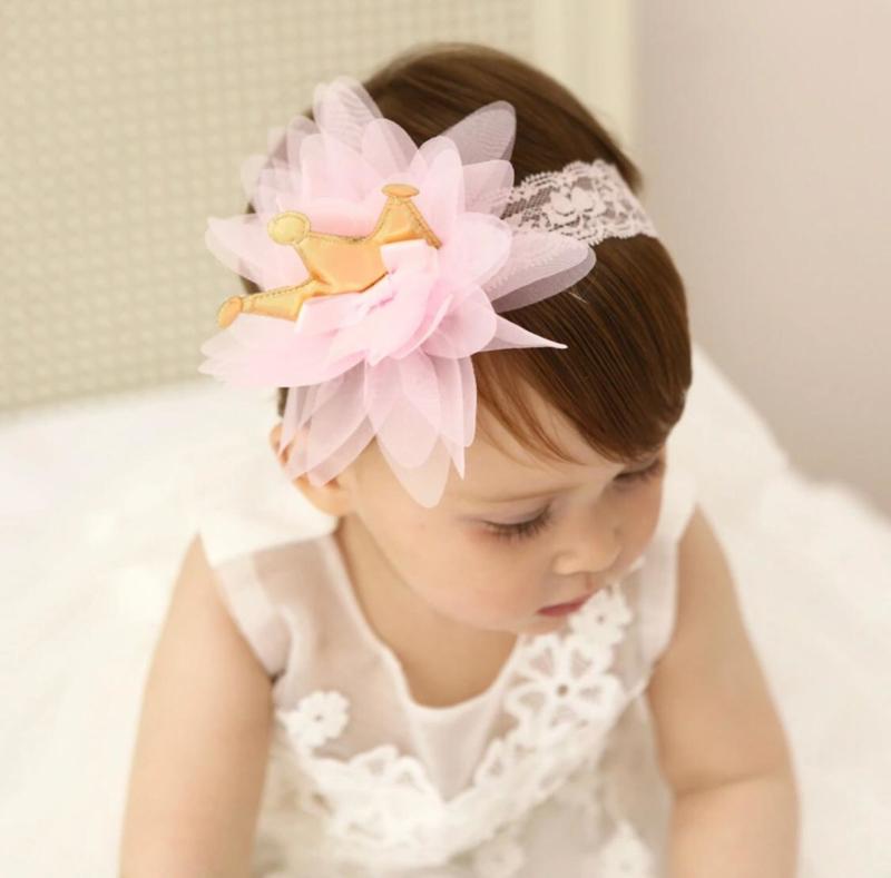 Haarband kroon kant roze