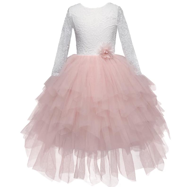 Lange romantisch jurk kant en tule lange mouw roze