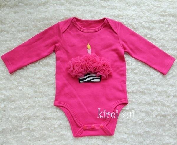 Baby romper pink Cupcake zebra pink lange mouw