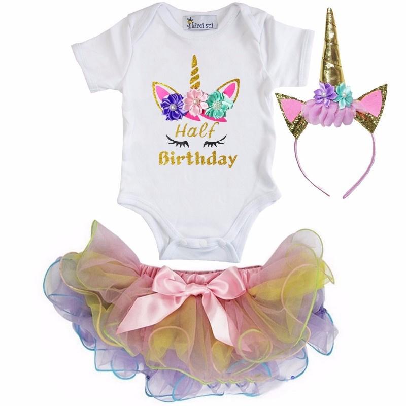 Unicorn Half Birthday lang/korte mouw pastel + diadeem