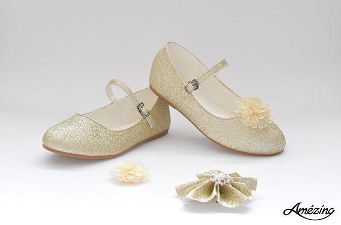 Prinses ballerina schoenen CHAMPAGNE  + 2 gratis bloemclips en 1 haarbloem