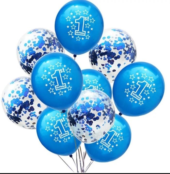 Ballonnen blauw en doorzichtig- 10 stuks