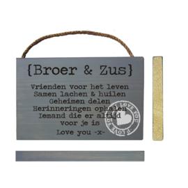 S608 Steigerhout tekstbord Broer en Zus dwars