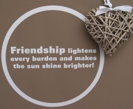 Friendship lightens every burden and makes the shun shine brighter!