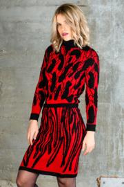 Crewneck trui Tiles zwart /rood