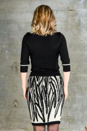 Dames rok Leaves  zwart / wit