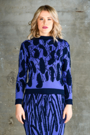 Crewneck trui Tiles lichtblauw / donkerblauw
