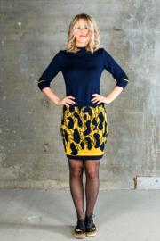 Dames rok Tiles  geel / donkerblauw