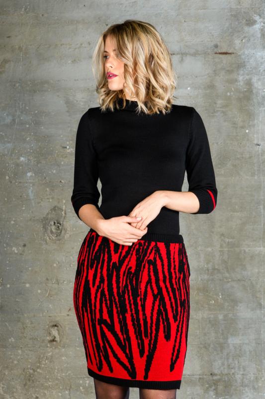 Dames rok Leaves zwart / rood