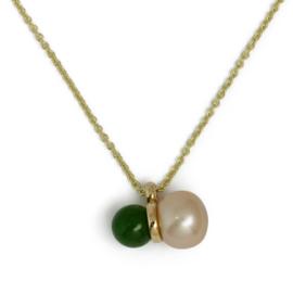 Geelgouden anker collier met champagne parel en groene jade
