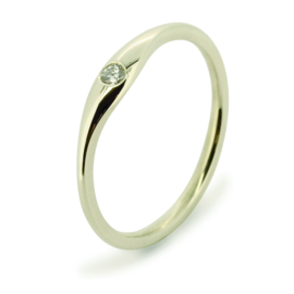 Gladde ring witgoud met lab grown diamant