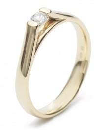 Geelgouden ring met lab grown diamant