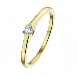 Klassieke geelgouden solitairring met diamant