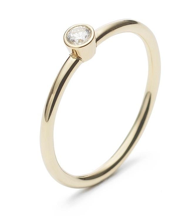 Gouden solitair ring met briljant geslepen diamant