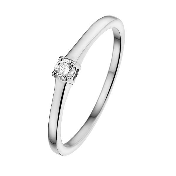 Klassieke witgouden solitairring met diamant