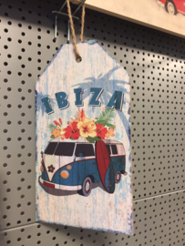 Schilderij hout 27x15 Ibiza  blauw