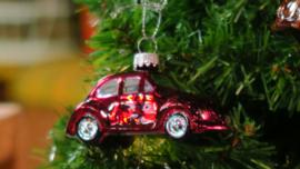 Kerstbal VW kever rood