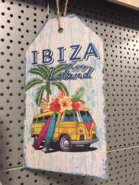 Schilderij hout 27x15 Ibiza geel