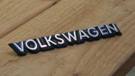 Volkswagen logo/embleem/badge zwart met chrome tekst 20cm