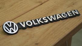 Volkswagen logo/embleem/badge zwart met chrome tekst 31,5cm