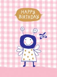 Wenskaart Popje - Happy Birthday