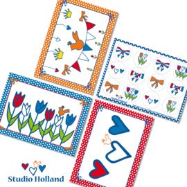 Studio Holland Kaarten-Stickers 4-set