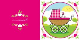Wenskaart Kinderwagen Roze