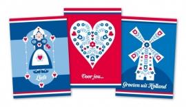 Ansichtkaarten Rood-Wit-Blauw 3-set