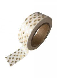 Washi Tape Hartjes Wit/Goud