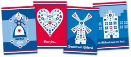 Ansichtkaarten Rood-Wit-Blauw 4-set