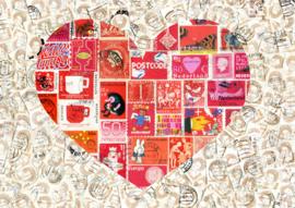 Ansichtkaart Postzegels Hart