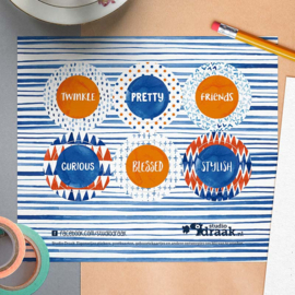 Sluitstickers Stippen & Strepen 6-set
