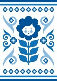 Ansichtkaart Delftsblauw Bloem