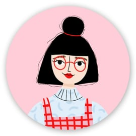 Sluitstickers Retro Girl 5-set