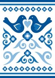 Ansichtkaart Delftsblauw Vogels