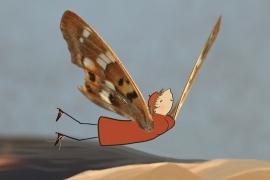 Ansichtkaart Vlinderdame