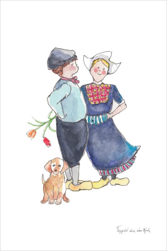 Ansichtkaart Boer en Boerin
