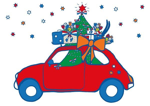 Ansichtkaart Auto Kerstboom