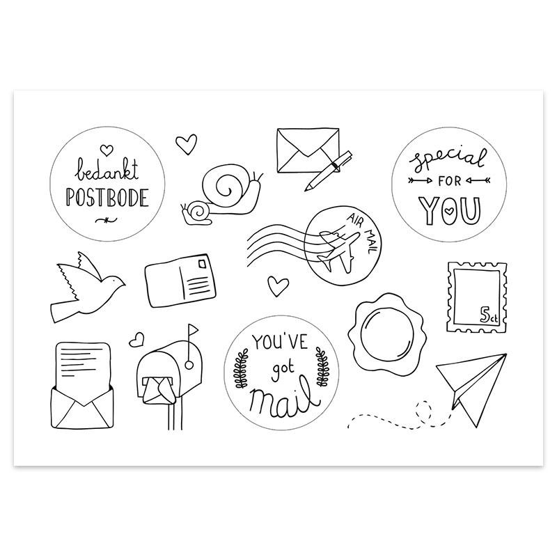 Stickervel Post 15-set