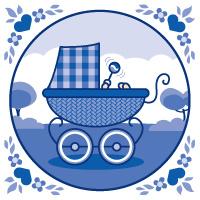 Wenskaart Kinderwagen Blauw